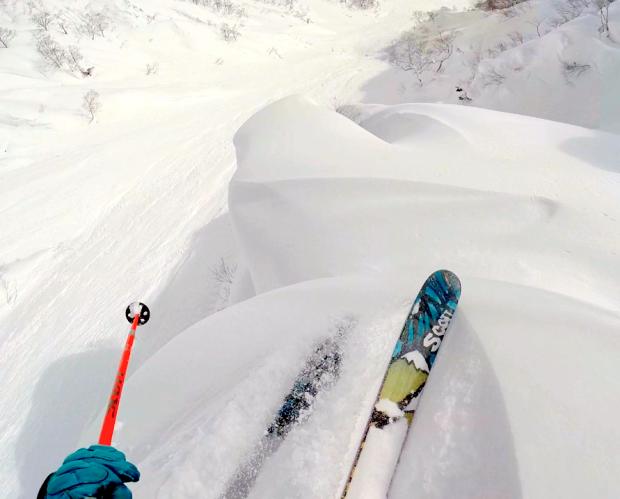 Spine pillow skiing in Japan this Jan.  photo:  snowbrains