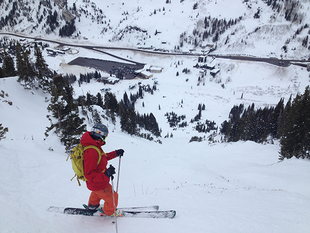 Taking in the views prior to dropping into High Boy at Alta