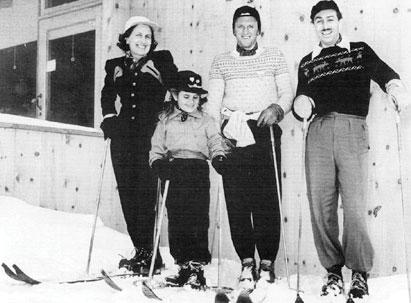 Walt Disney (right) and family at Sugar Bowl.