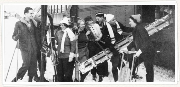 "Skis and skiers coming off the ""Snowball Special"" train at Sugar Bowl in the early 1940s."