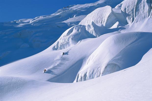 Glacier skiing in Chamonix, France.