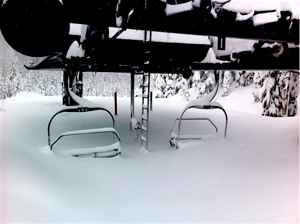 """Mt. Bachelor, OR on January 23rd, 2012 after 100"""" of snow in 7 days. Carousel Lift. photo: bachelor"""