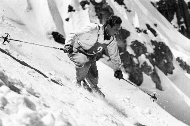 An early-day ski racer at Sugar Bowl.