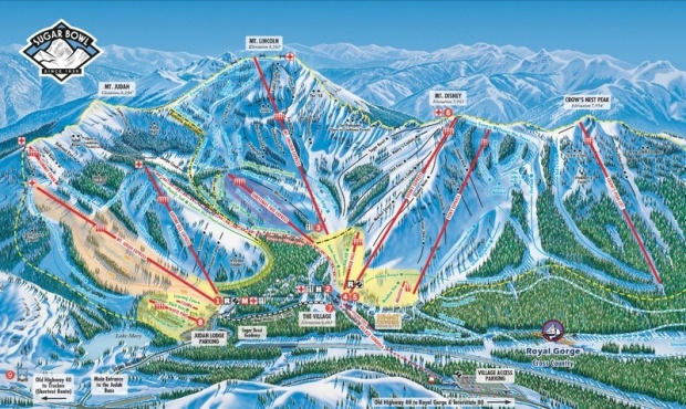 Sugar Bowl ski resort with Crows Peak Express to the far right.