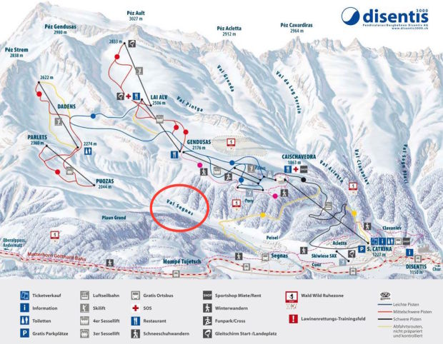 Disentis ski resort trail map with the Val Segnas - where the avalanche occurred - circles.