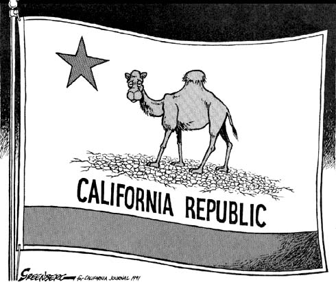 A cartoonist's spoof on California's state flag during the 199 drought.