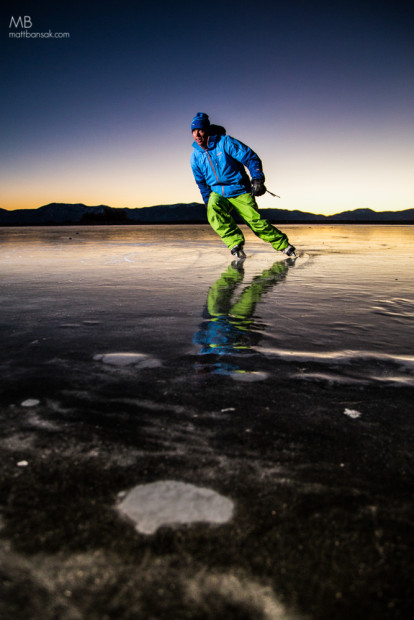 Robb Gaffney enjoying a sunrise skate session on Lake Tahoe, during a rare event where a portion of Tahoe froze over in Tahoe City in early January, due to shallow water and cold temps.