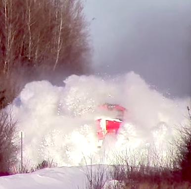 train in deep snow