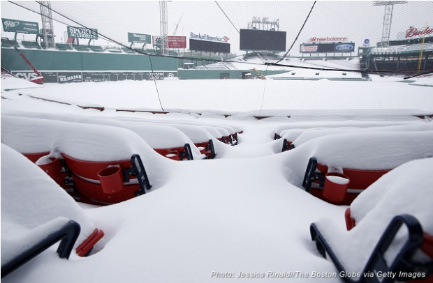 The Right Field seats are covered in snow at Fenway Park on Feb. 9, 2015 (Photo by Jessica Rinaldi/The Boston Globe via Getty Images)