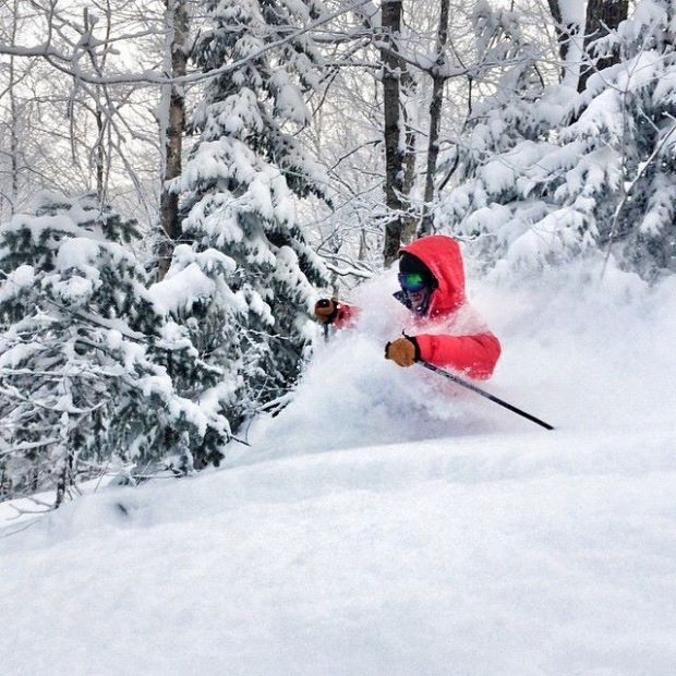 """Deep pow in Blackhole after a surprise 12-18"""" of blower! [Skier: Eddie Ogiony, Photo: Mike Chait]"""