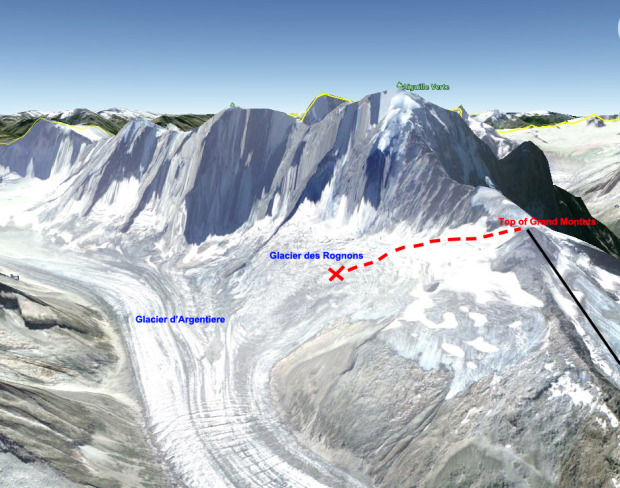 The area of my fall, Glacier des Rognons