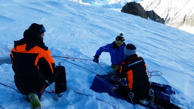 The crevasse rescue rig, powered by a portable hand drill