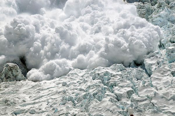 An avalanche coming down the Khumbu Icefall on Everest.