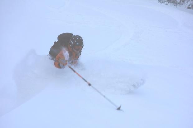 Untracked deepness on Upper F.I.S. [Skier: Ryan Darlow, Photo: Hugh Johnson]