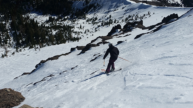Dropping into Kitchen Wall with Sun Bowl below, some of the best turns on the mountain