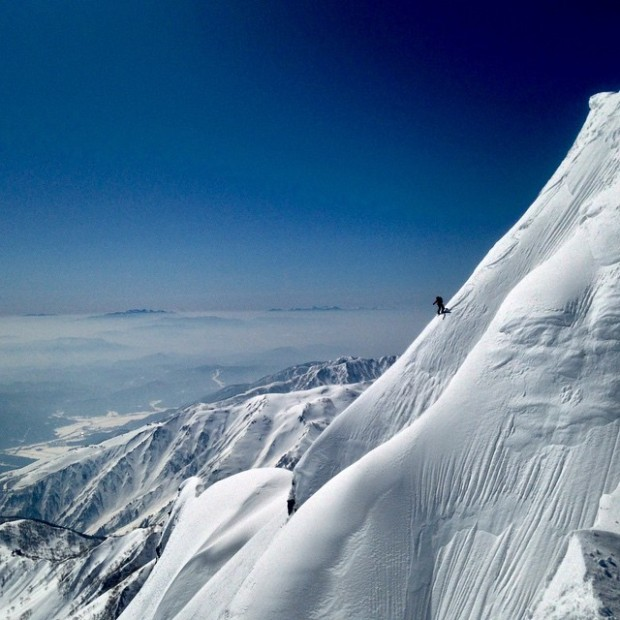 Dropping the Japanese Alps in April.