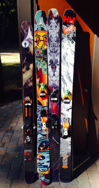 Four different models of skis I have for sale:  Bentchetler, Atlas, Automatic, Ritual.