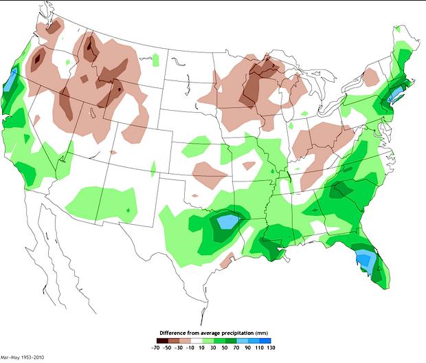 Historical March - May El Nino Precipitation patterns.