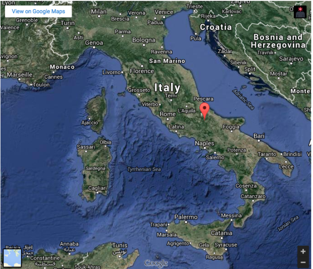 Map showing the location of Capracotta, Italy.