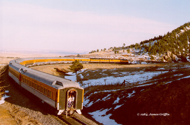 Original Ski Train -- Returning to Denver on a Sunday in April 1984, at Coal Creek Canyon, and led by the three F9's from the erstwhile Rio Grande Zephyr. )http://users.sisna.com/