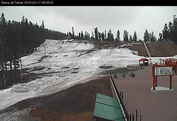 Bottom of Broadway at Sierra-at-Tahoe today looking rough.