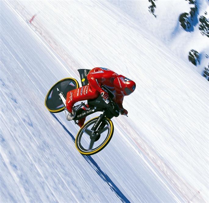 downhill mountain bike on snow