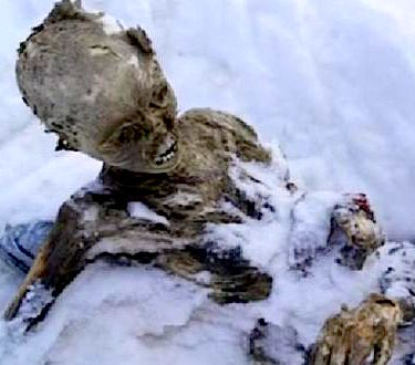 Newly discovered mummified climber on El Pico de Orizaba, Mexico. photo: reuters