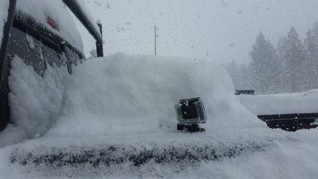 New snow accumulating over the course of the morning, GoPro for scale