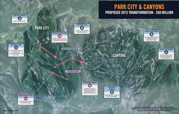 Park City and Canyons to connect in 2015.  The interconnect gondola is in the middle in red as upsidedown V.  No larger images are available for some reason…