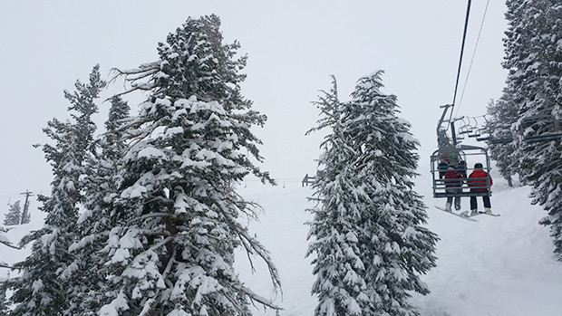 Nice to finally see some snow in the trees at Squaw