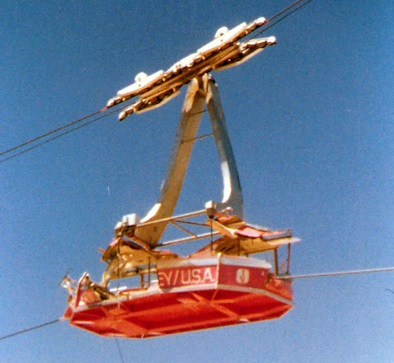 The tram at squaw valley in 1978 after a cable nearly ripped it in half