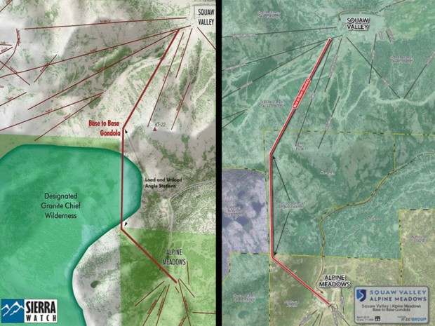 The map on the left shows the designated wilderness area Congress intended to be protected. The map on the right shows the wilderness area in purple and the acreage that is privately-owned. It may some day have a gondola and a new ski resort.