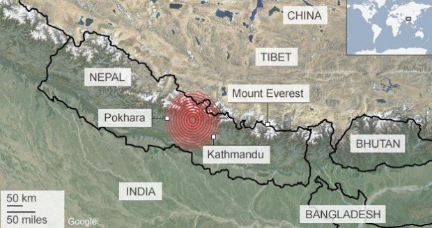 Location of Saturday's earthquake in Nepal.