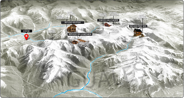 Baguales map showing hut locations.