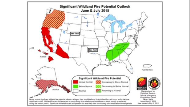 June/July Fire Outlook for the USA showing California in grave danger.