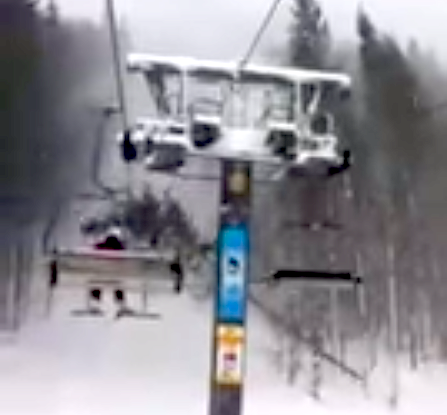 tree falls on chairlift
