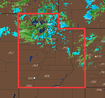Utah radar showing the storm hitting at 2pm. Blue = snow