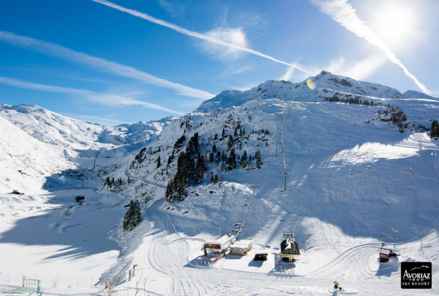 The Pas du Lac area at Avoriaz during winter.  Note the damn on the left.  It would take a lot of water to fill this basin...