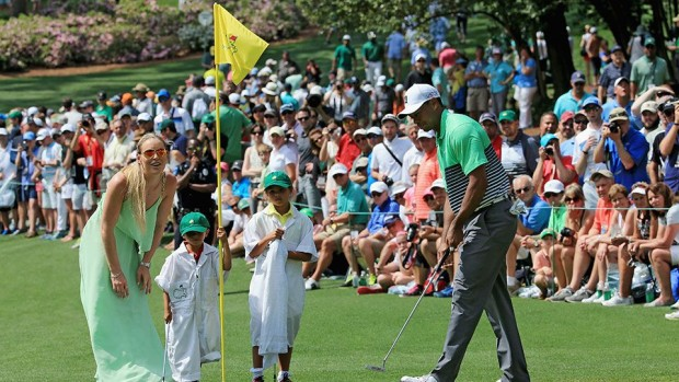 Lindsey, Tiger, and Tiger's kids together two weeks ago at the Masters in Augusta.