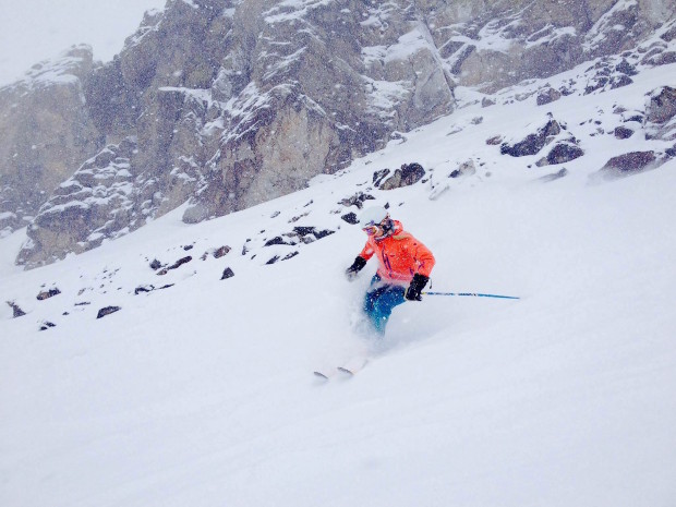 Katy ripping at turn in the pow on Chair 3 today.