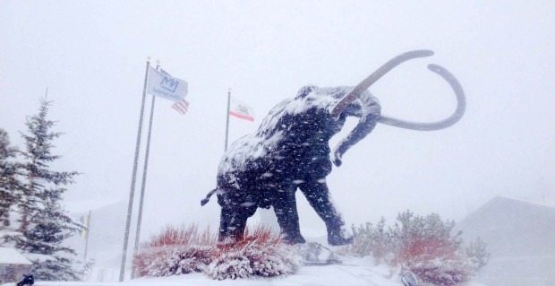 The Mammoth at Mammoth today in the storm.