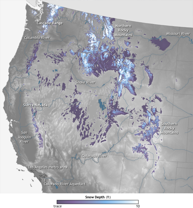 Snowpack across the western USA as of May 12th, 2015.