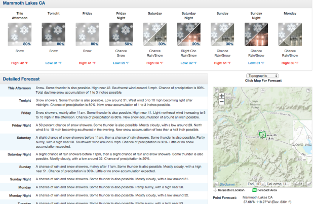 Mammoth forecast with snow in the forecast everyday.