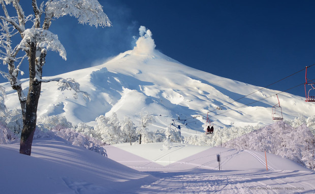 Villarica is an active volcano and it's normal for it to be smoking.  Pucon ski resort.
