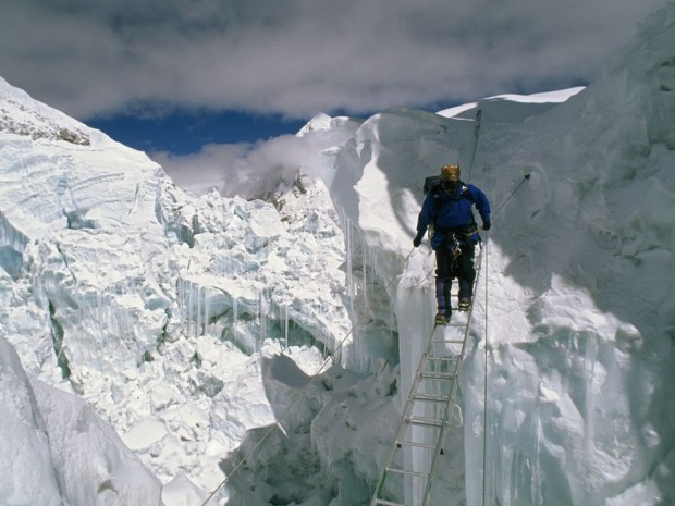 The formidable Khumbu Icefall.