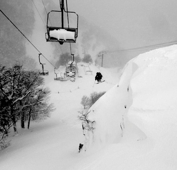 Canada Dan getting huck wild under the lift at Catedral ski resort, Bariloche in 2013.