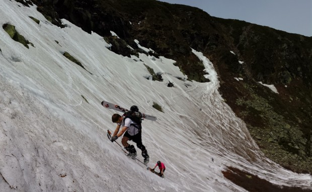Limited snow, but still steep! [Photo: Aaron RIce, Pictured: Cyril Brunner, Mike Gadomski]