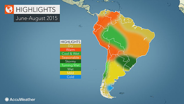 Accuweather's South American Winter Outlook showing above average precipitation for the southern part of the Andes that has all the ski resorts.