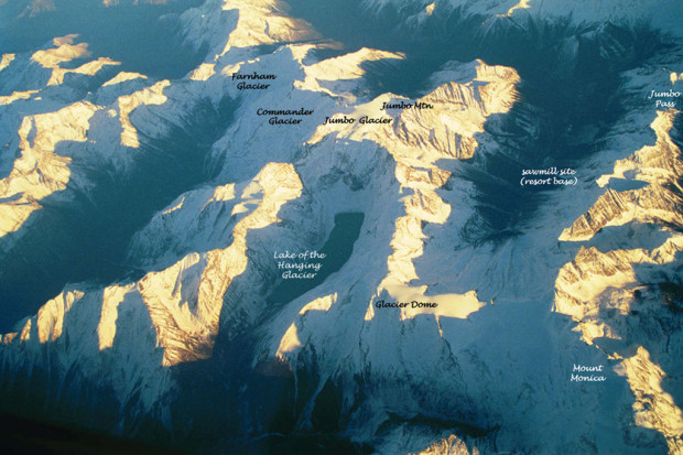 Aerial view of the proposed  Jumbo Glacier ski resort