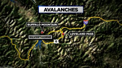 Map showing the avalanche on Buffalo Mountain and Loveland Pass, CO.